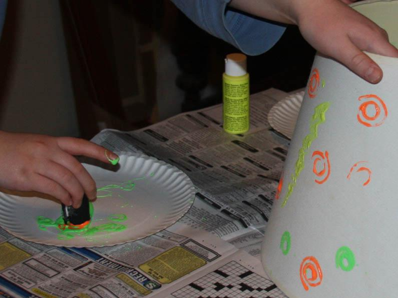 Acrylic paint on foam stamping lampshade craft