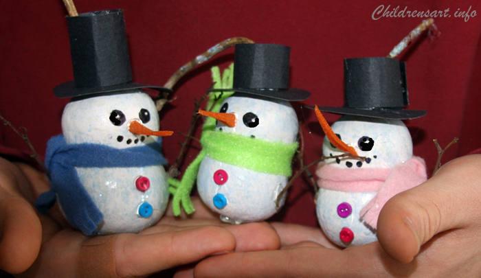 246cbe99ef1 Snowman Gourd Ornament Kids Craft